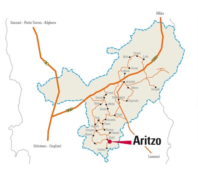 Cartina Autunno in Barbagia Aritzo 2012, 27 e 28 ottobre, Sagra delle Castagne e Nocciole.