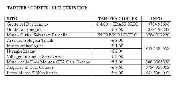 Tariffe Cortes Siti Turistici Dorgali 27 28 29 Settembre 2013