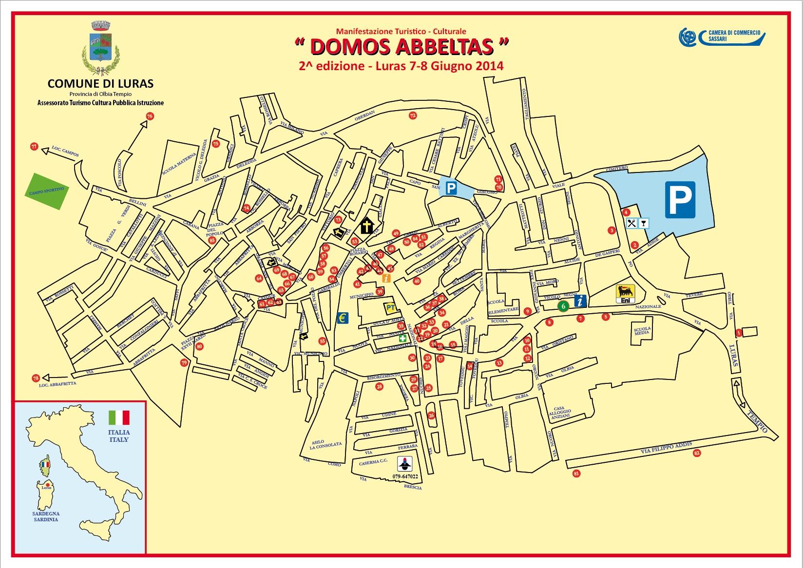 Cartina Domuns Abbeltas Luras 7 e 8 Giugno 2014