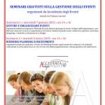 Mercoledì 7 gennaio 2015 il primo dei due seminari gratuiti sulla Gestione degli Eventi organizzati dall'Accademia degli Eventi in collaborazione con il Comune di Cagliari.