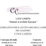 """Luigi Canepa """"Sassari à la Belle Époque """". Celebrazioni per il Centenario della morte del Maestro Luigi Canepa."""