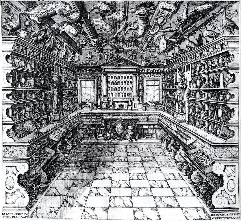 Darkkammer - Francesco Calzolari, Cabinet des curiosités, da Musaeum Calceolarium (Verona, 1622)