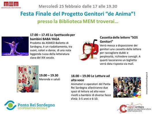 """Mercoledì 25 Febbraio 2015 la MEM di Cagliari ospiterà la Festa Finale del Progetto """"Genitori de Anima"""" organizzato dal Centro Panta Rei."""
