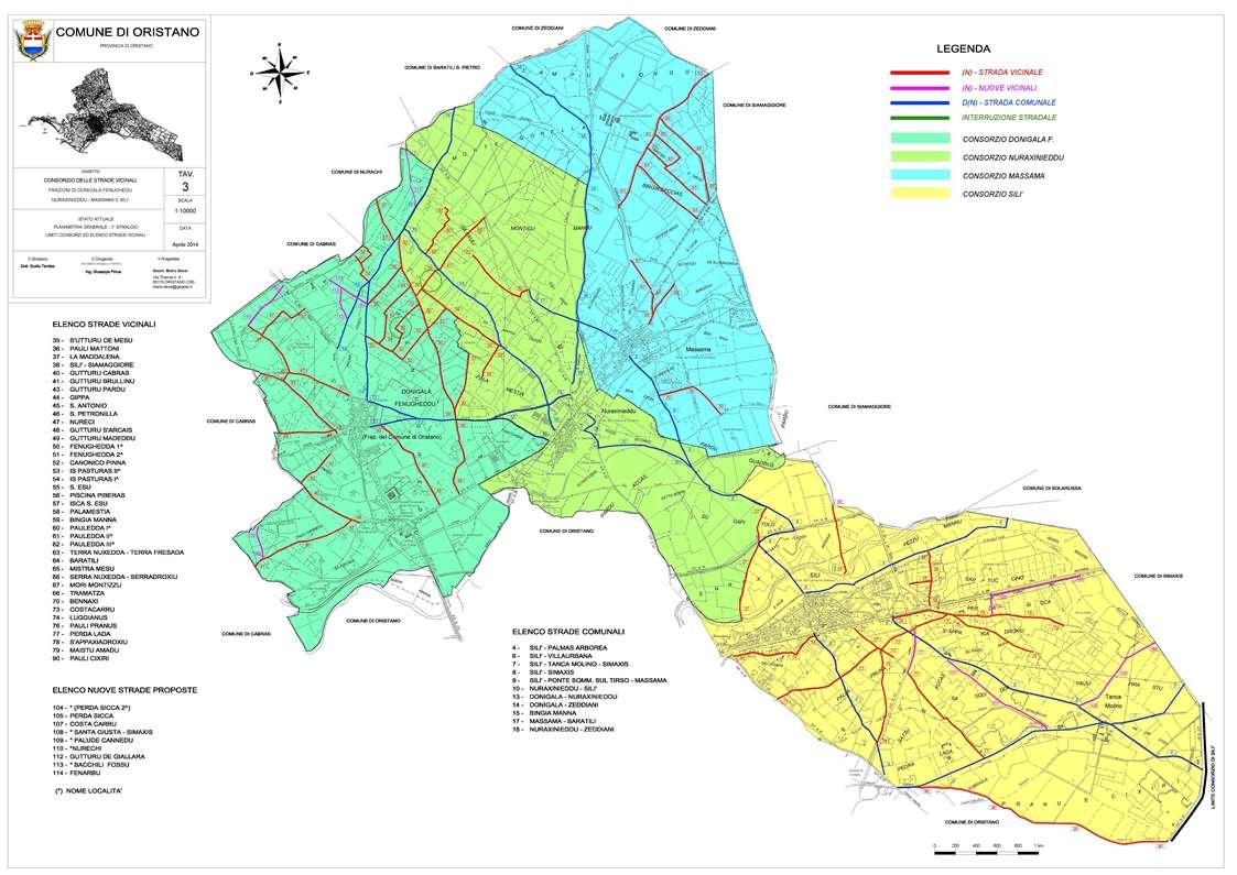Planimetria consorzi Oristano. Il Consiglio comunale di Oristano ha approvato il regolamento per la gestione delle strade vicinali.