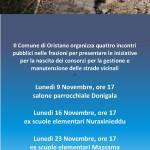 Strade vicinali Oristano – Dal 9 al 30 Novembre 2015 quattro assemblee pubbliche nelle frazioni.