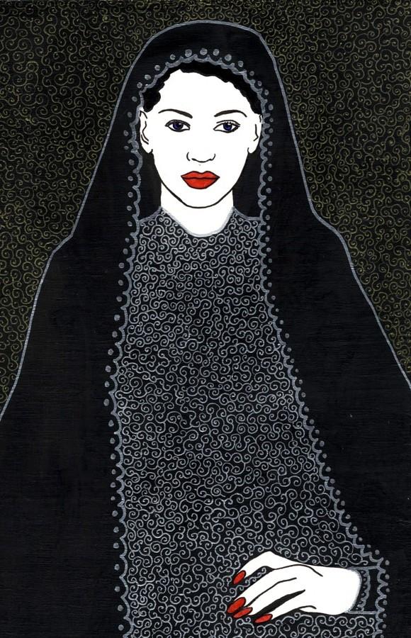 Alessio Onnis, Fata (Jana), acrilico e tecnica mista su tavola. Dipinto raffigurante una fata (jana) in abito nero.