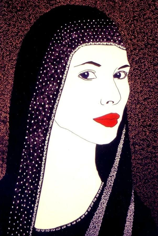 Dipinto raffigurante il volto femminile di una fata (jana). Acrilico del pittore sardo Alessio Onnis.