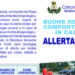 Lettera informativa alla cittadinanza in caso di rischi da calamità naturali del Sindaco di Carbonia Paola Massidda. Buone regole di comportamento in caso di allerta meteo.