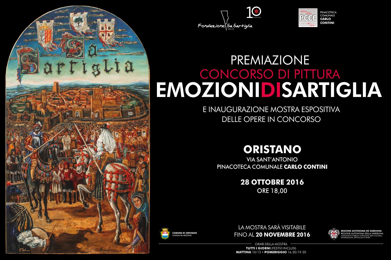 La migliore tra le 57 opere partecipanti al concorso Emozioni di Sartiglia si conoscerà venerdì 28 ottobre, alle 18, nel corso della cerimonia di premiazione in programma nella Pinacoteca comunale Carlo Contini.