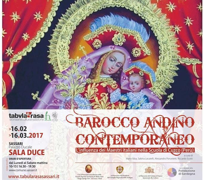 """Negli spazi della sala Duce dal 16 febbraio al 16 marzo 2017 la mostra """"Barocco andino contemporaneo: l'influenza dei maestri italiani nella Scuola di Cuzco""""."""