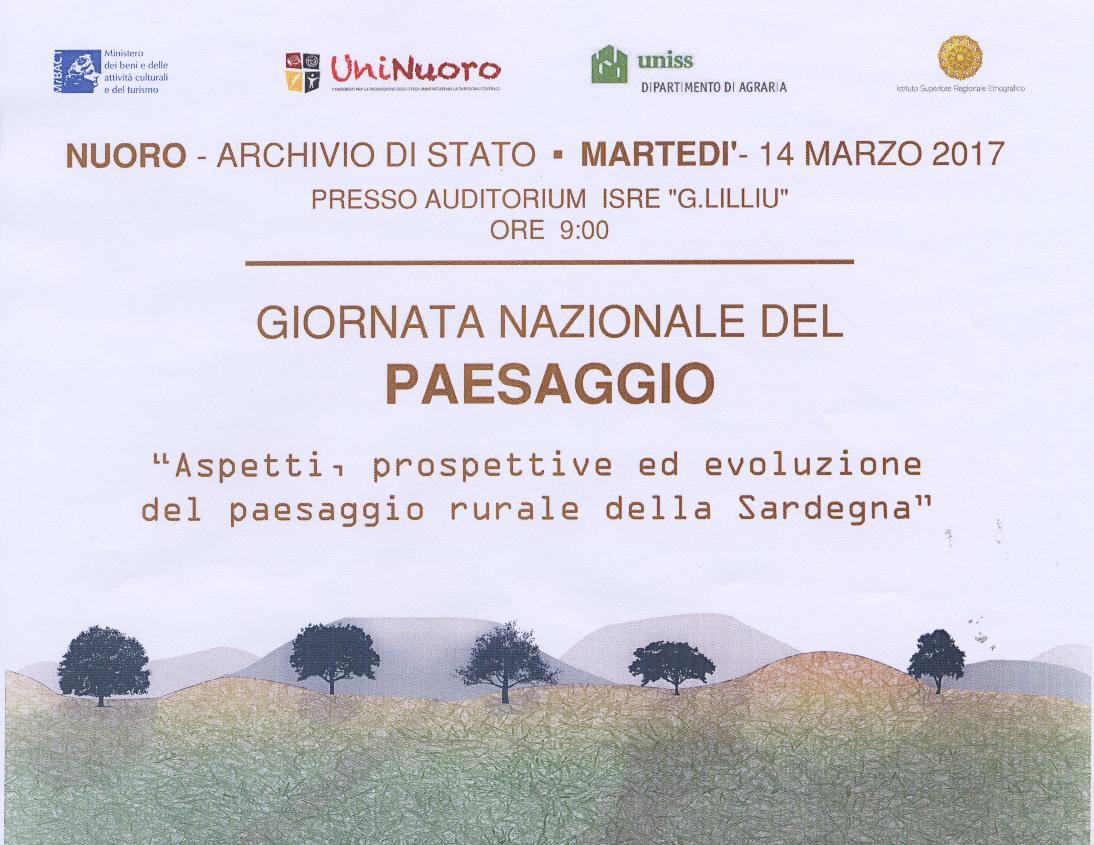 Martedì 14 marzo 2017, Giornata Nazionale del Paesaggio all'ISRE. Aspetti, prospettive ed evoluzione del paesaggio rurale della Sardegna.