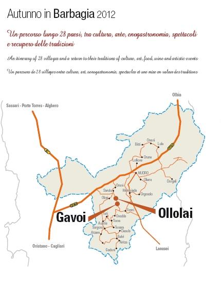 Cartina Autunno in Barbagia 2012, Gavoi-Ollolai 12-13-14 ottobre 2012, Cortes apertas, Pastores e Tenores