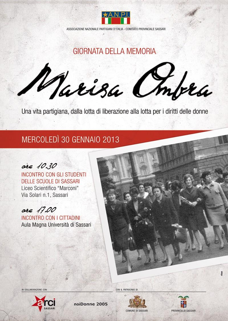Marisa Ombra a Sassari Giornata della Memoria 30 gennaio 2013.