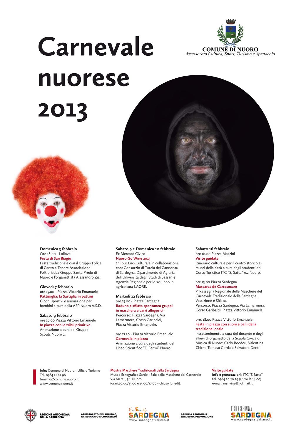 Ingrandisci Immagine: Carnevale Nuorese 2013 - Manifesto Programma fonte Comune di Nuoro Assessorato cultura Sport Turismo