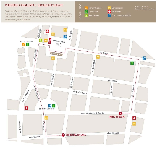 Il PERCORSO CAVALCATA SARDA 19 MAGGIO 2013 SASSARI