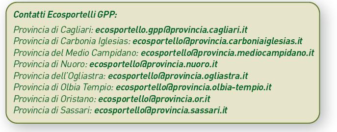 Contatti Ecosportelli GPP Regione Sardegna