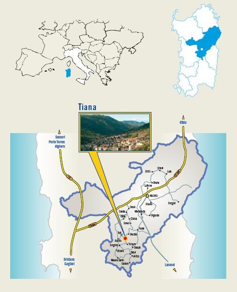 Cartina Cortes apertas a Tiana 15 16 17 novembre 2013, Autunno in Barbagia a Tiana Gualchiere mulini e antiche sapori d'autunno 15 16 17 novembre 2013