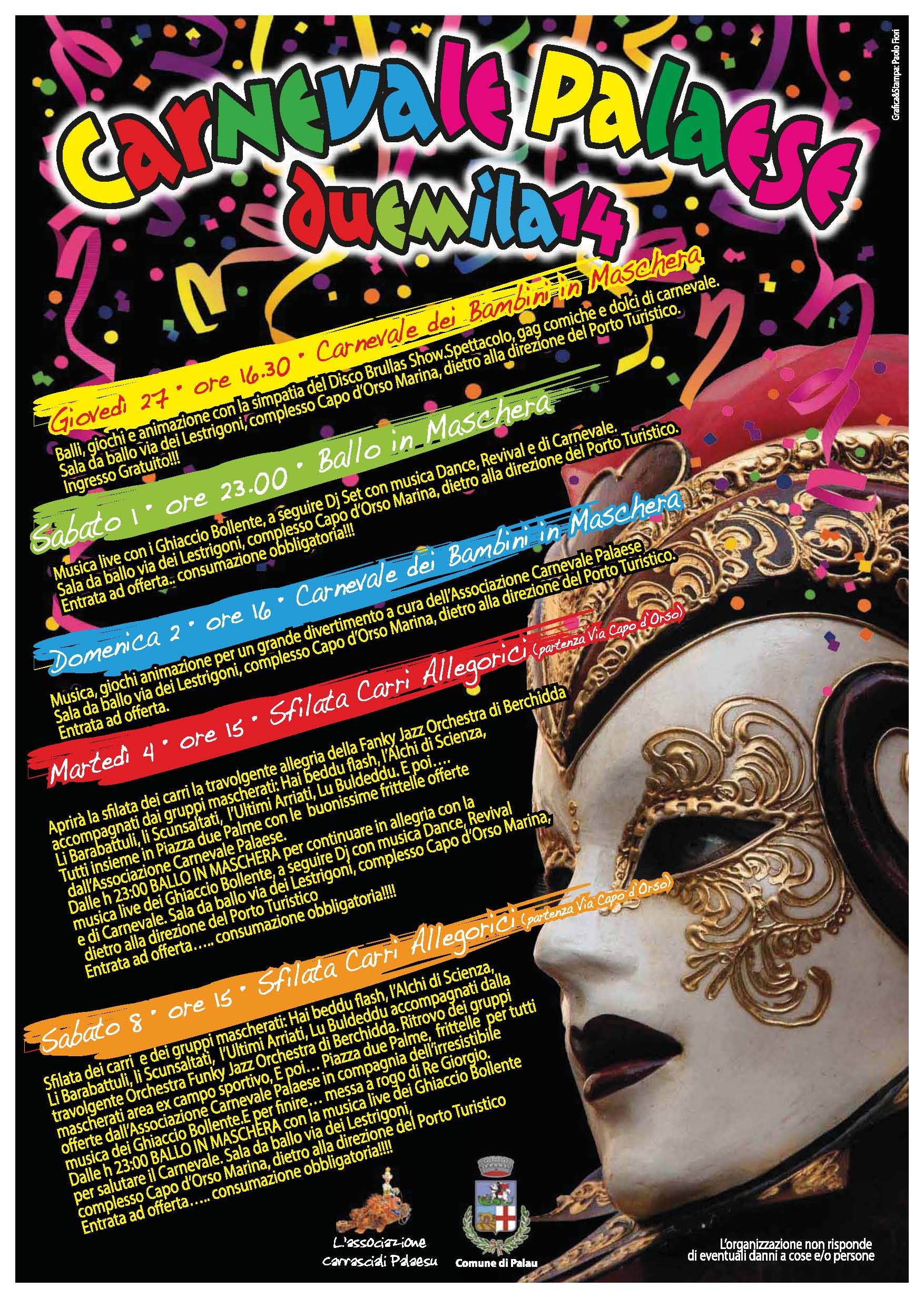 carnevale palaese 2014, programma completo carnevale di Palau 2014
