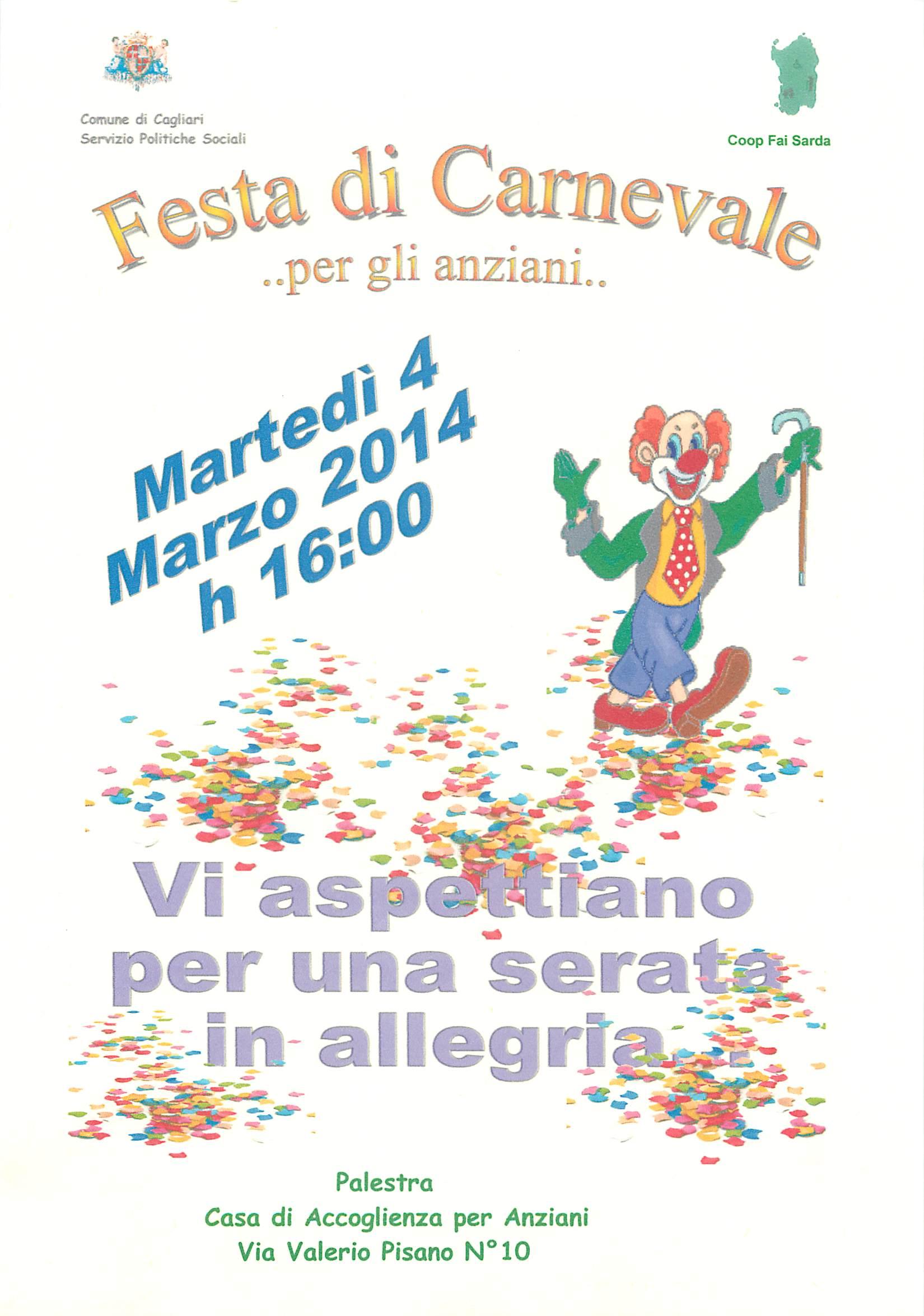 ocandina festa di Carnevale 2014 a cagliari per anziani