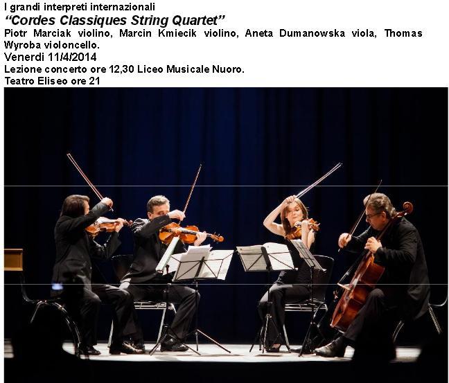 """Quartetto d'archi di Cracovia """"Cordes Classiques"""" Peter Marciak, Marcin Kmiecik, Aneta Dumanowska, Thomas Wyroba."""