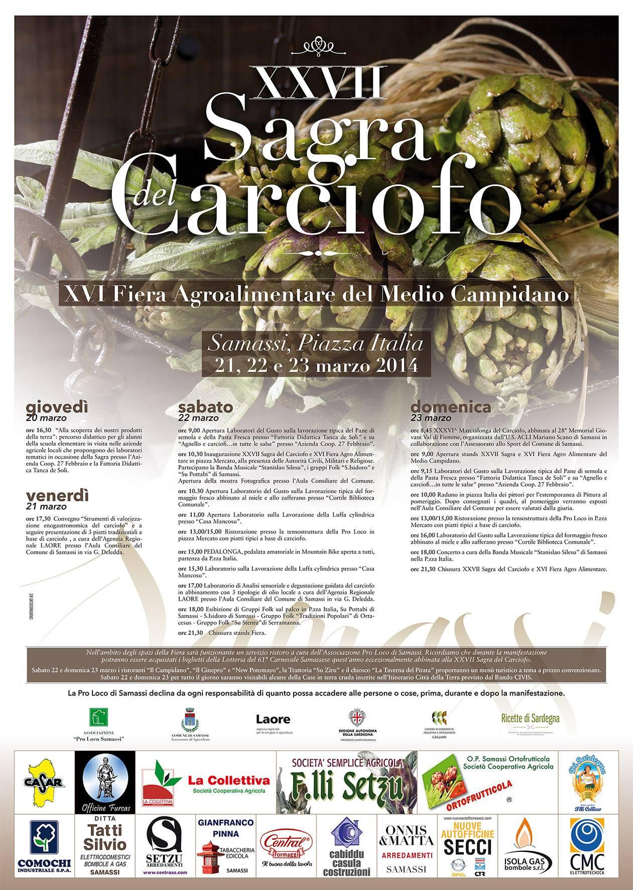 Sagra del carciofo 21 22 23 marzo 2014 a Samassi Sardegna