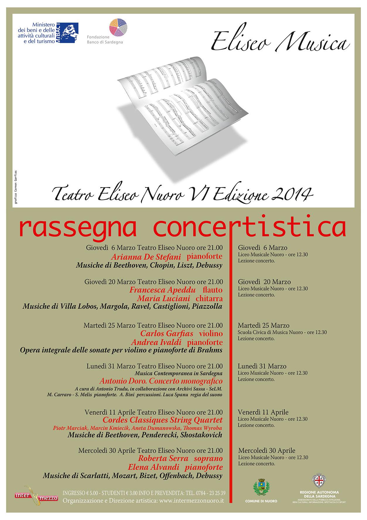 Teatro Eliseo Nuoro rassegna concertistica Musica 2014 VI edizione