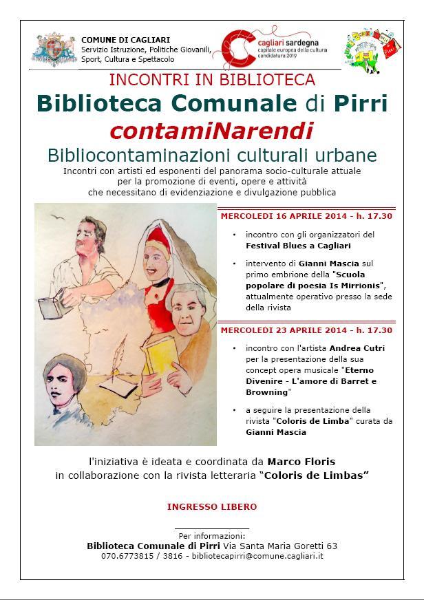 Cagliari dal 16 aprile 2014 presso la Biblioteca Comunale di Pirri inizia ContamiNarendi Bibliocontaminazioni culturali urbane