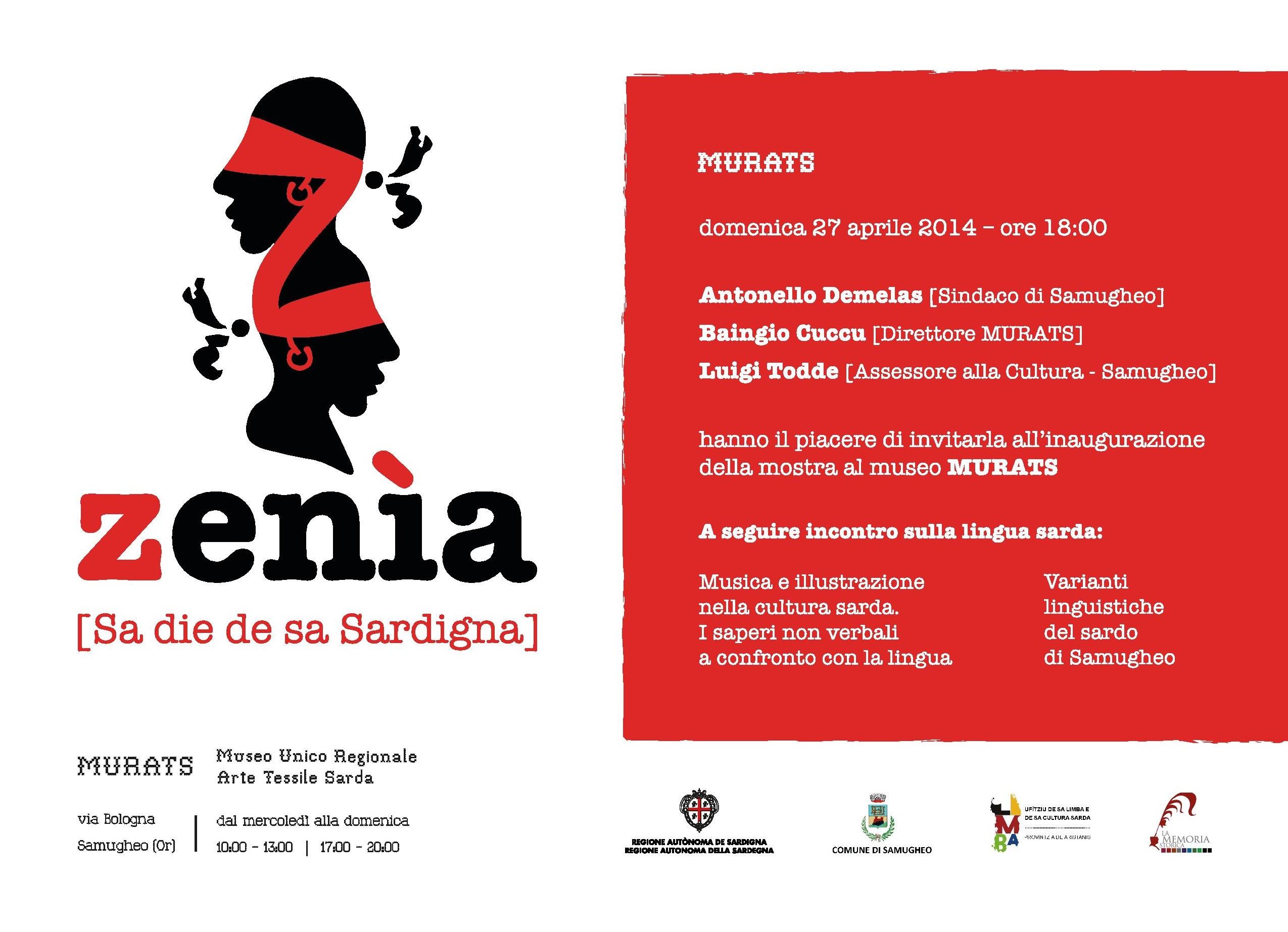 Zenìa Mostra al Museo MURATS di Samugheo da aprile a giugno 2014 dedicata a Sa die de sa Sardigna.