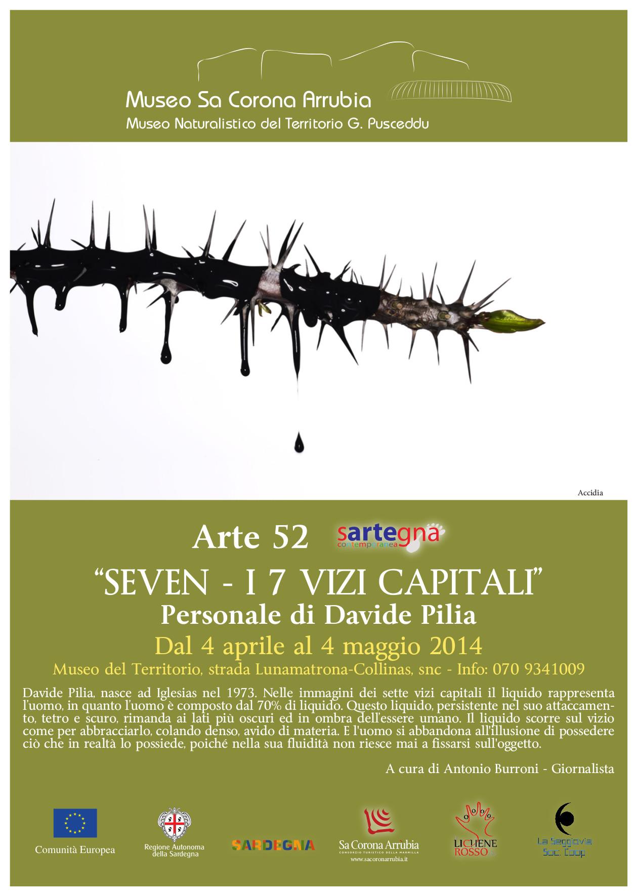 Locandina Personale Davide Pilia Sa Corona Arrubia 2014