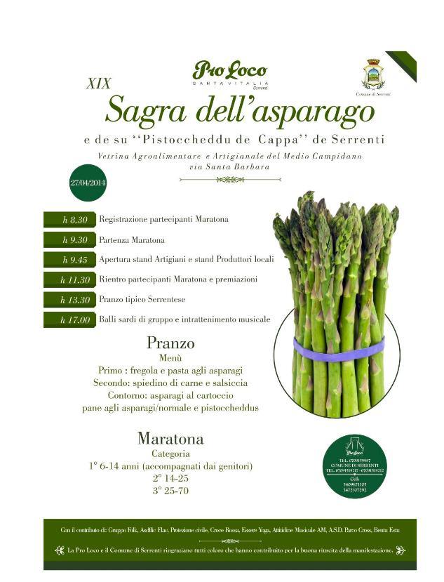 XIX Sagra dell'asparago de Serrenti 27 aprile 2014 Vetrina Agroalimentare e Artigianale del Medio Campidano
