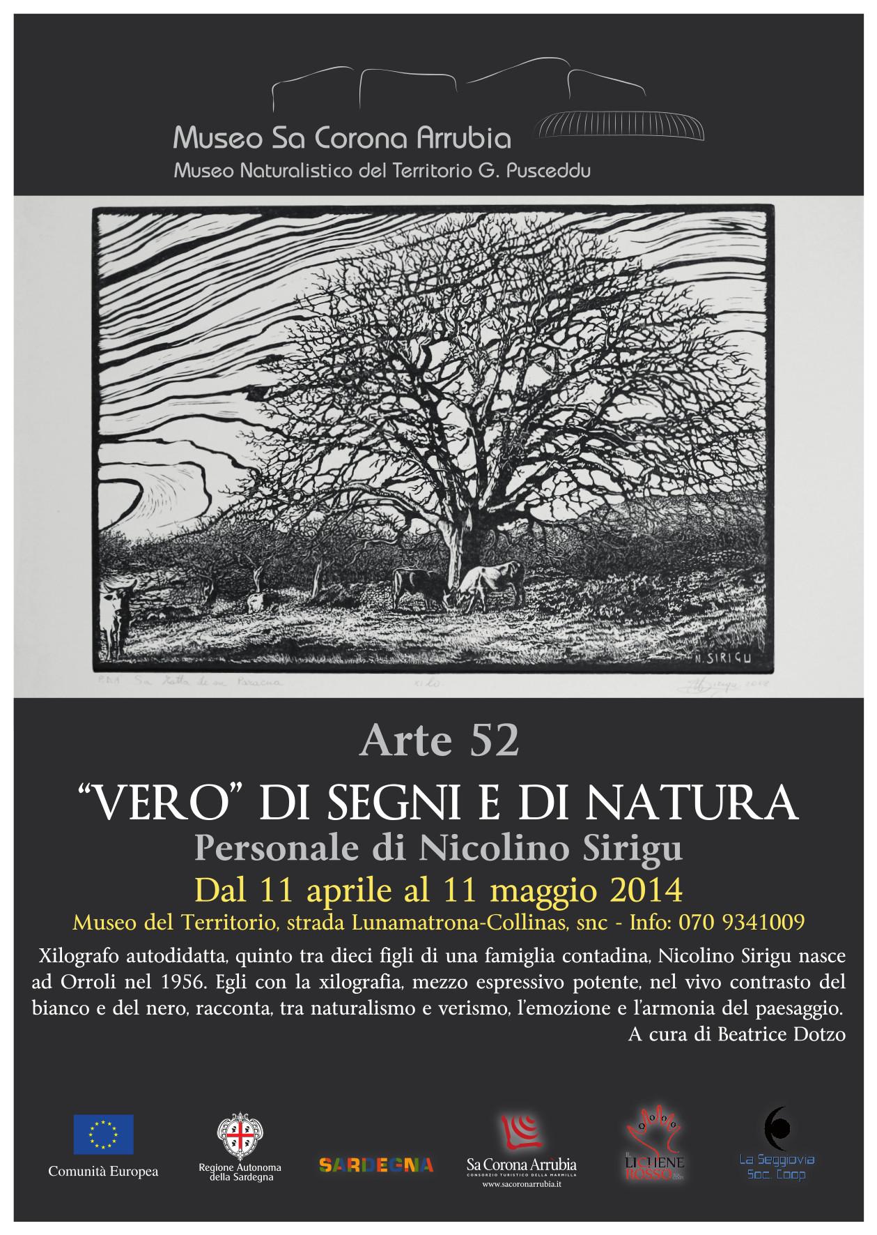 """""""VERO"""" DI SEGNI E DI NATURA   Personale di Nicolino Sirigu  Dal 11 aprile al 11 maggio 2014  Museo naturalistico del territorio """"G. Pusceddu""""    strada Lunamatrona-Collinas"""