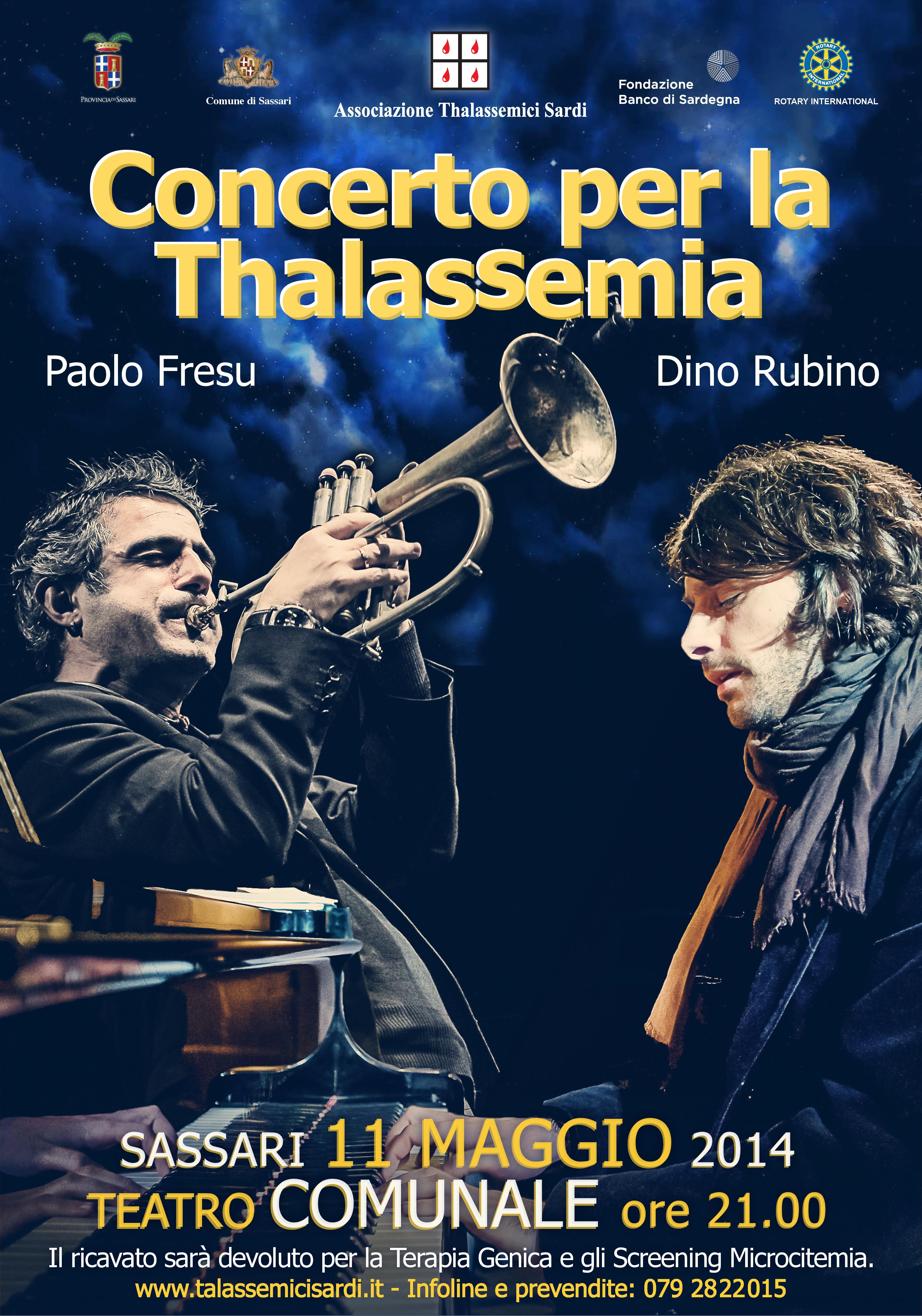 Concerto 11 maggio 2014 Sassari con Paolo Fresu raccolta per la ricerca contro la thalassemia