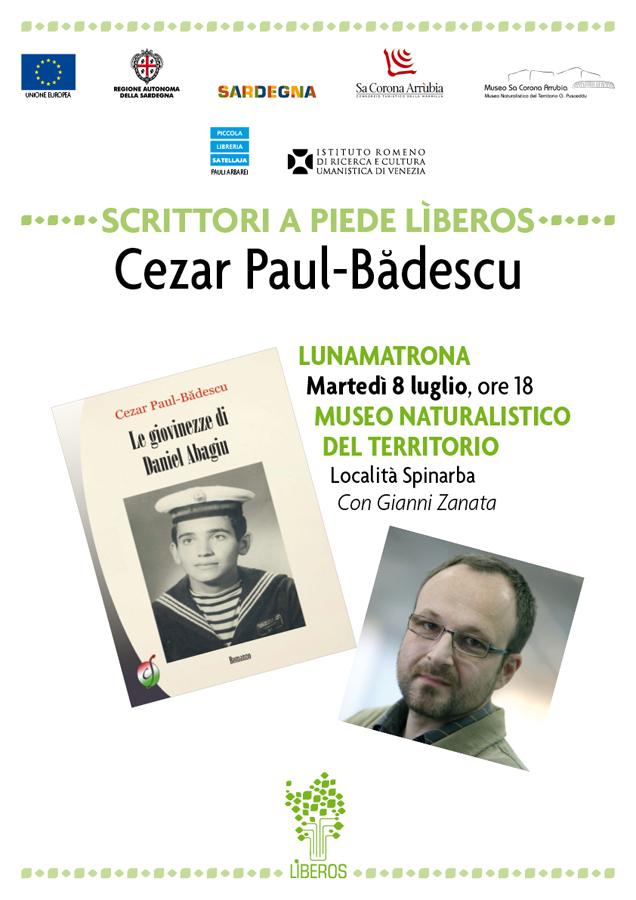 """Scrittori a piede lìberos: incontro con Cezar Paul-Bădescu martedì 8 luglio alle ore 18 presso il Museo Naturalistico del Territorio """"G. Pusceddu"""