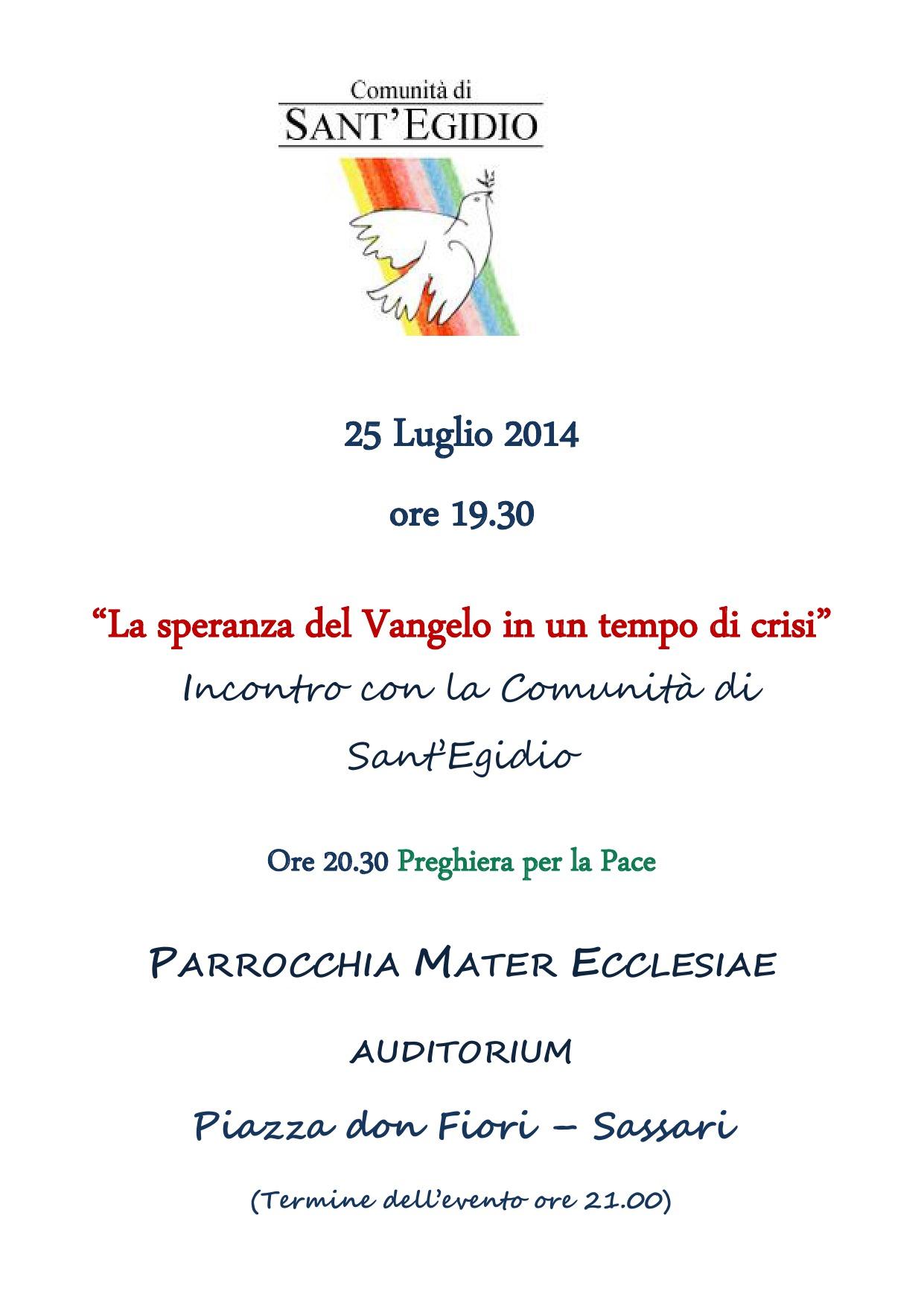 Sassari 25 Luglio Incontro Comunita Sant'Egidio