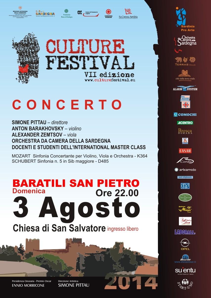 Culture Festival 2014 di Simone Pittau BARATILI SAN PIETRO – 3 Agosto 2014 Parrocchia di San Salvatore – ore 22:00 ingresso libero