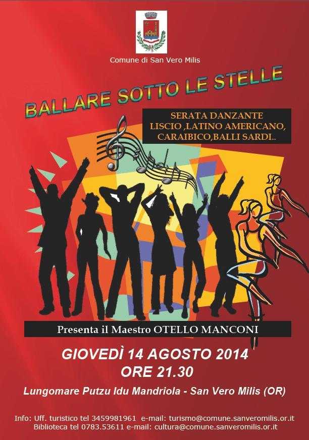 Comune di San Vero Milis Ballare Sotto le Stelle serata danzante giovedì 14 agosto 2014