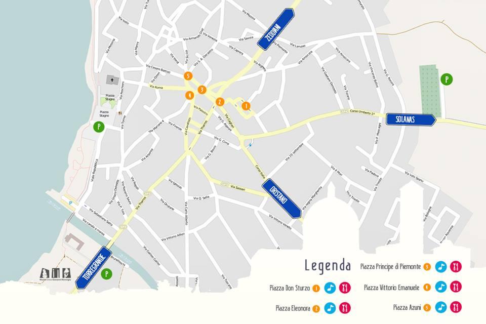 GIGANTI SAPORI XIII SAGRA DELLA BOTTARGA 23 e 24 AGOSTO 2014 le cinque piazze dove si svoge la sagra