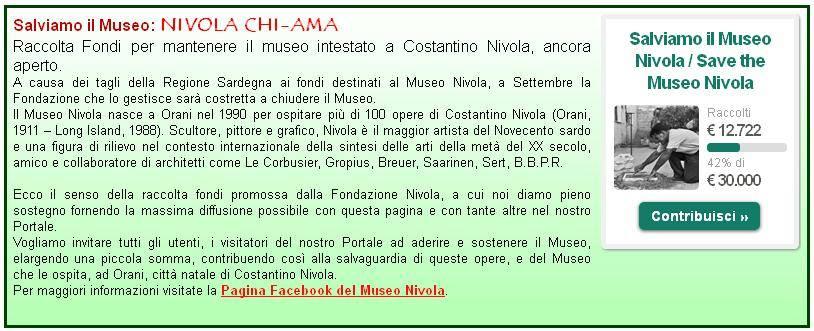 Raccolta Fondi Museo Nivola 2014 Portale Le Vie della Sardegna. Nivola Chi-Ama #leviedellaSardegna