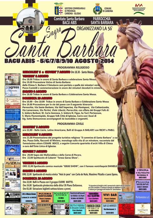 Sagra Santa Barbara a Bacu Abis fino al 10 agosto 2014 comune di Carbonia