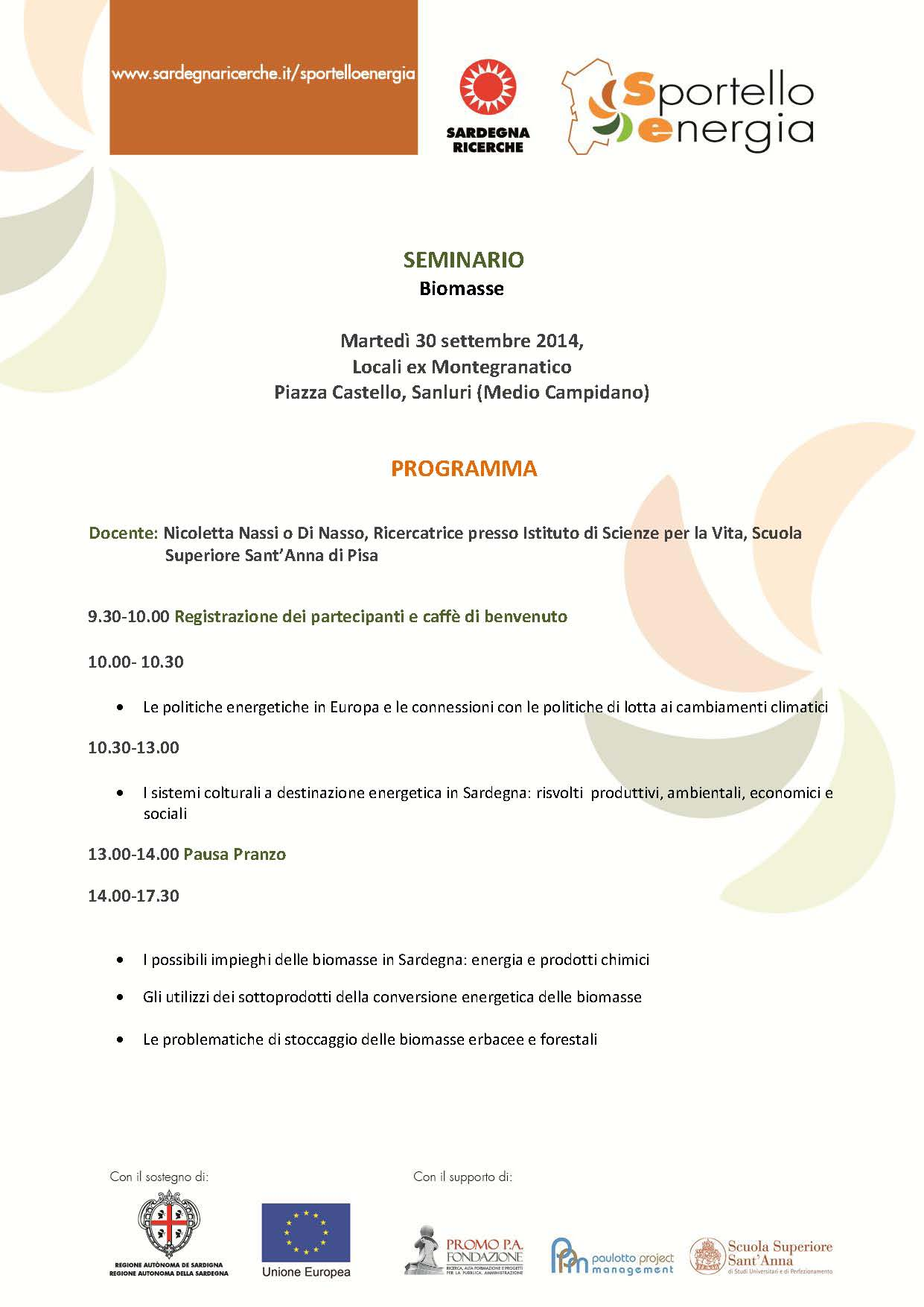 Seminario Biomasse Sanluri 30 settembre 2014