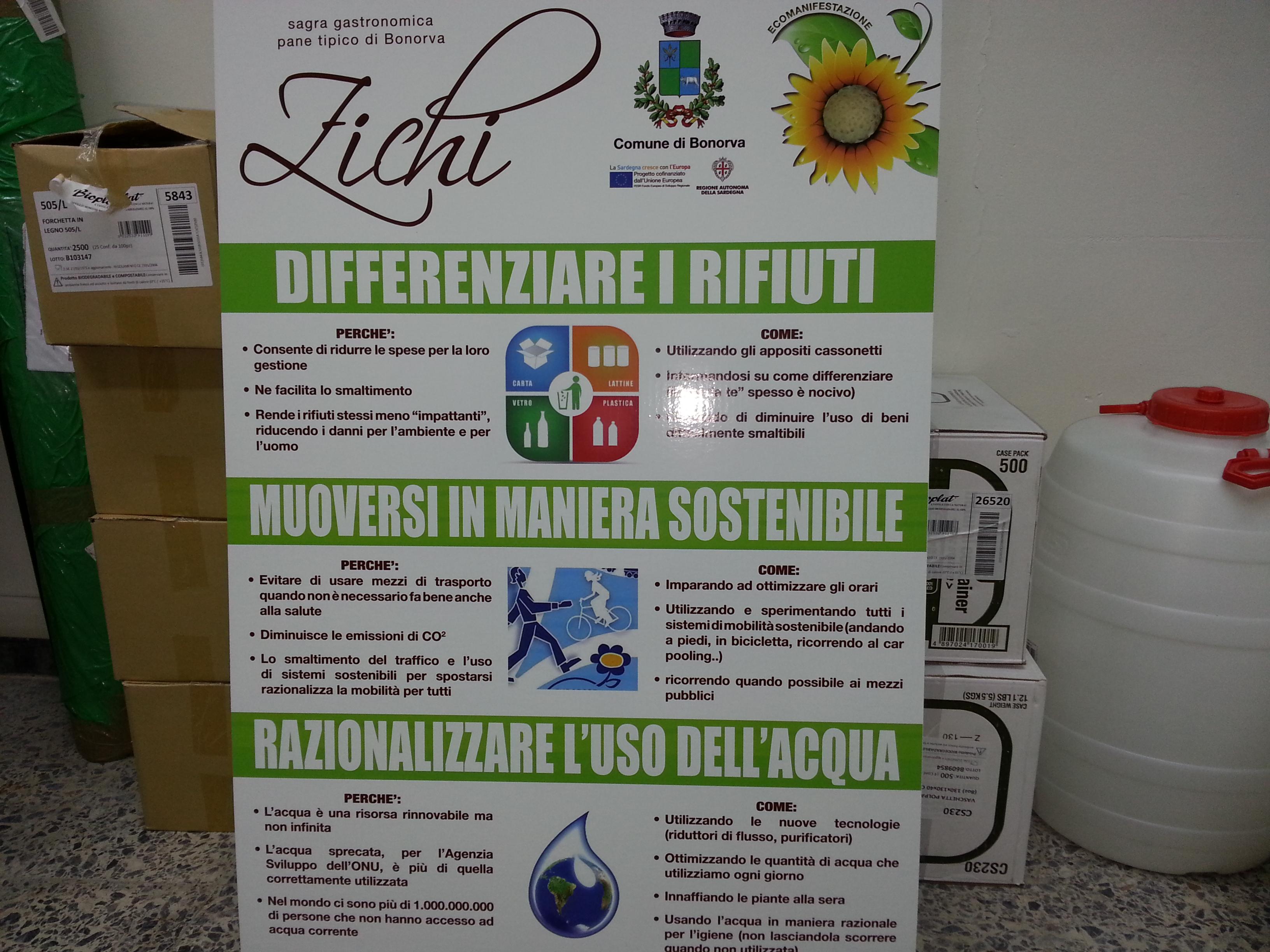 La Sagra del Zichi del 23 agosto 2014 promossa dal Comune di Bonorva sarà organizzata all'insegna del rispetto dell'ambiente.