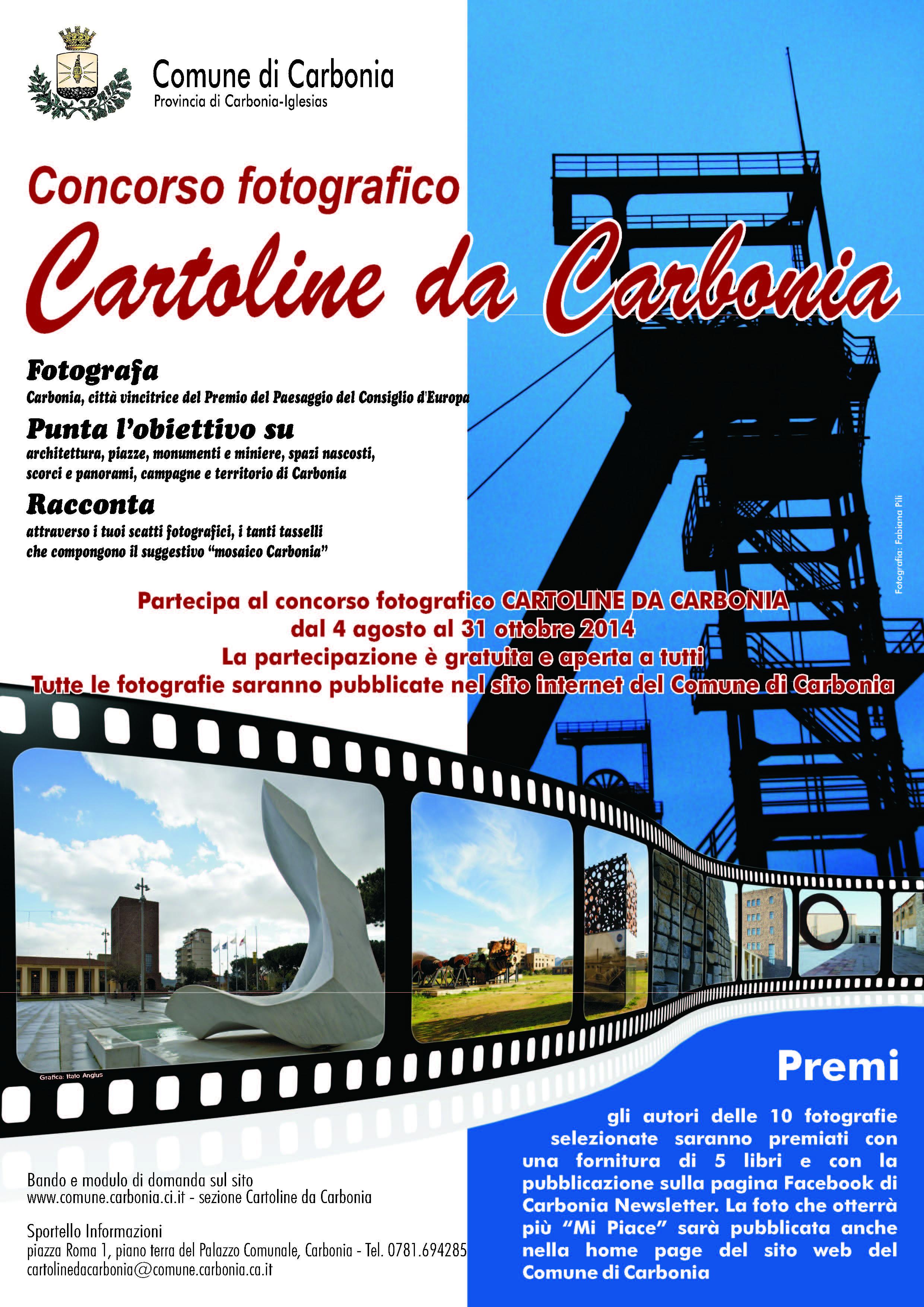 """Concorso fotografico """"Cartolini da Carbonia"""" dal 4 agosto al 31 ottobre 2014"""