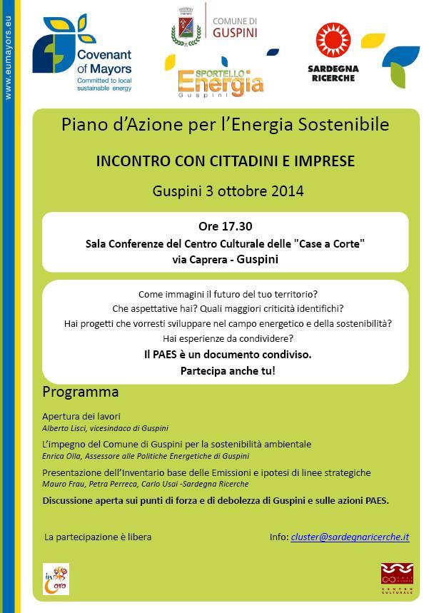 Piano d'Azione per l'Energia Sostenibile Incontro con Cittadini e Imprese Guspini 3 ottobre 2014