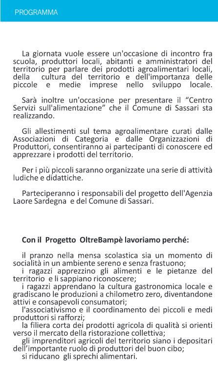 Programma dell'Evento di Campanedda OltreBampè Sassari 2 ottobre 2014