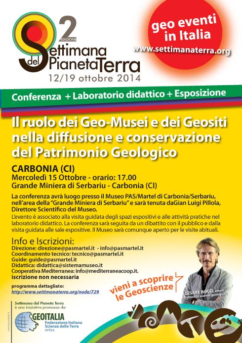 Carbonia 15 ottobre 2014 Grande Miniera di Serbariu Conferenza e Mostra per la Settimana del Pianeta Terra