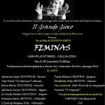 FEMINAS Performance artistica dedicata a Maria Lai Sabato 25 Ottobre 2014 Lavatoio pubblico Villacidro (VS). Ingresso gratuito!