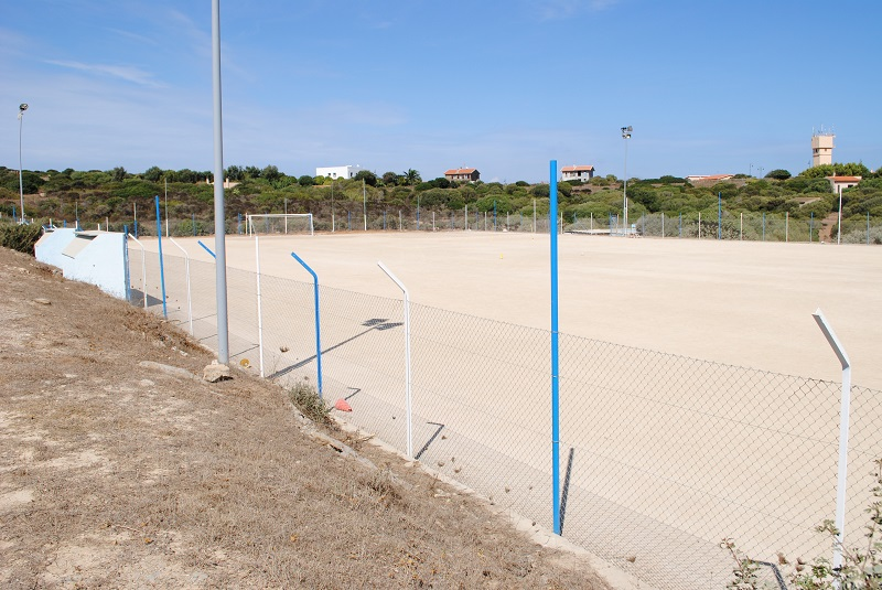"""Stintino area dell'Ovile del mercante che ospita il vecchio campo di calcio """"Tore Pipia""""."""