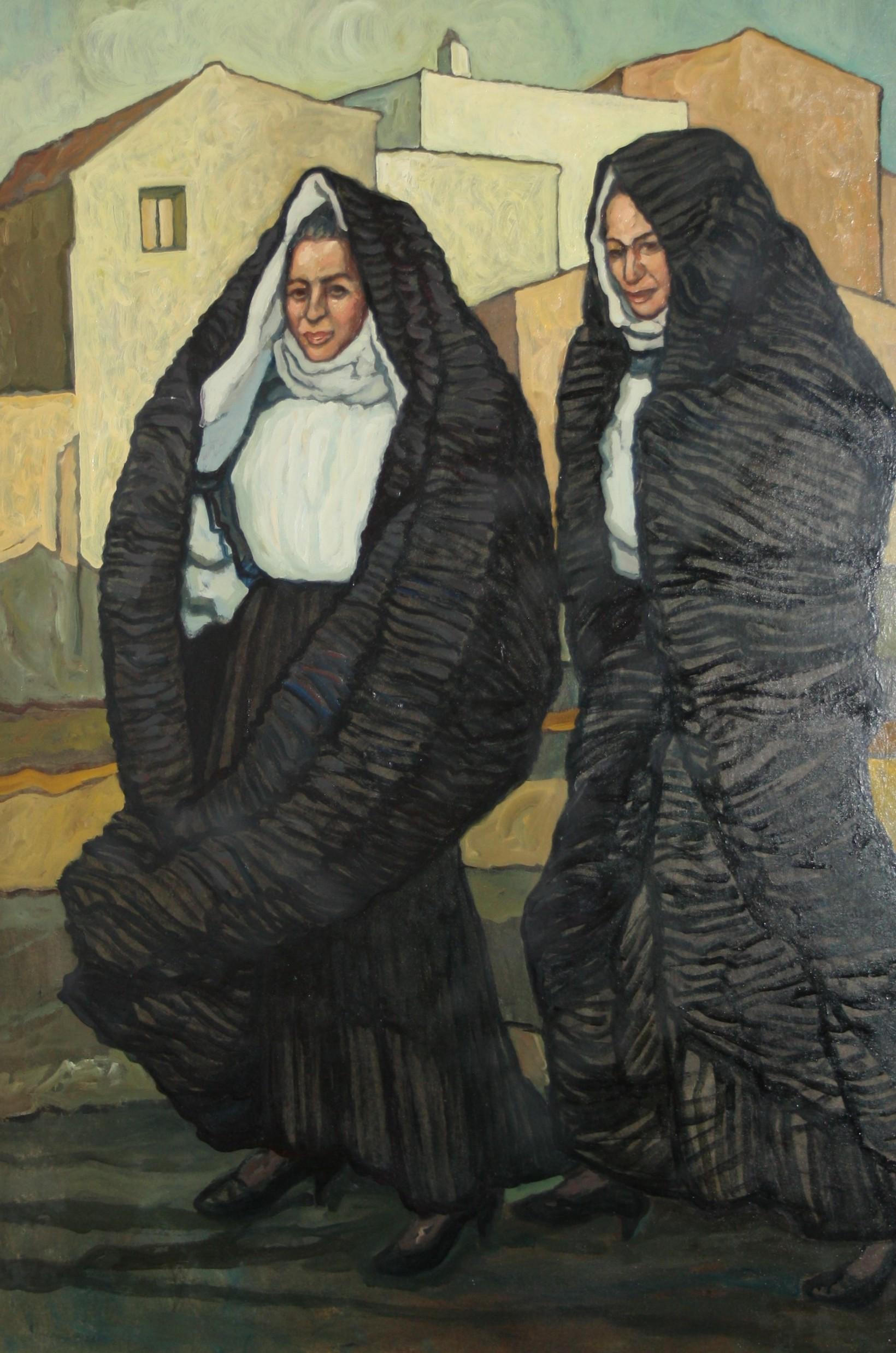 Fara Salvatore, anni 80, olio su tela 100x70, Donne di Sennori.