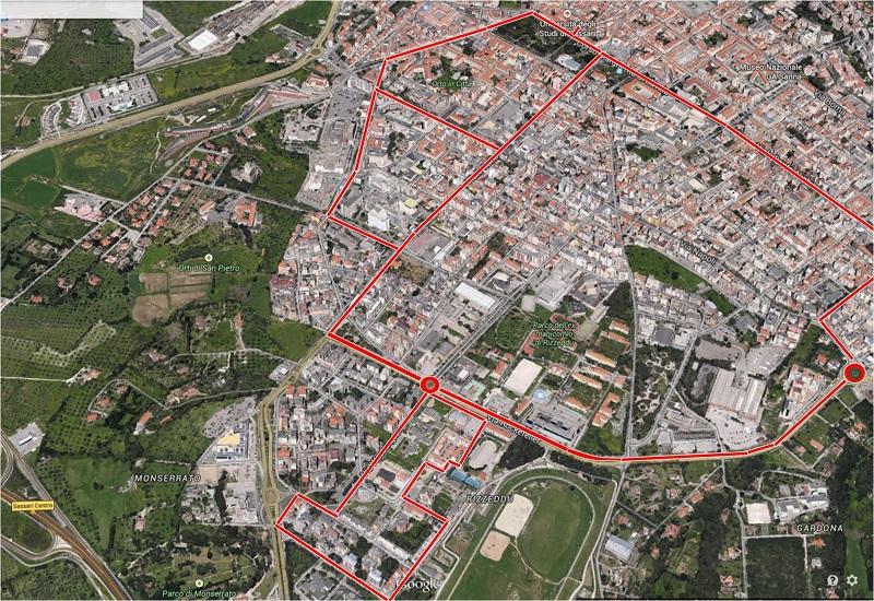 Da Sassari un progetto innovativo di pista ciclabile foto aerea percorso, presentazione progetto 5 dicembre 2014