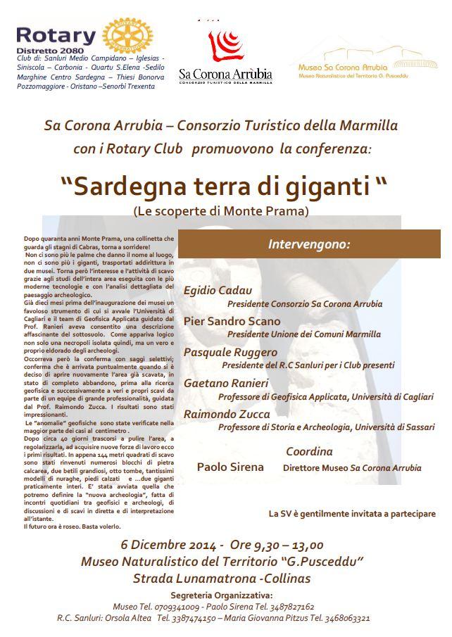 """""""Sardegna terra di giganti"""" (le scoperte di Monte Prama) - Conferenza al Museo Sa Corona Arrubia sabato 6 dicembre 2014."""